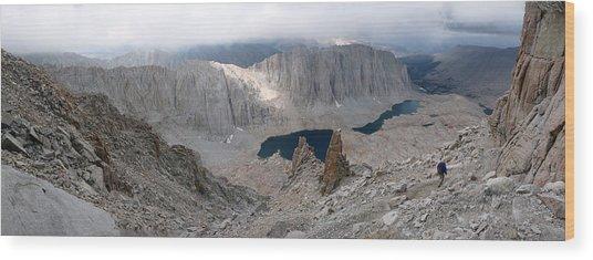 Solitary Hiker Panorama Wood Print