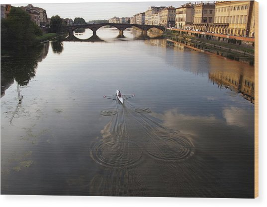 Solitary Sculler Wood Print