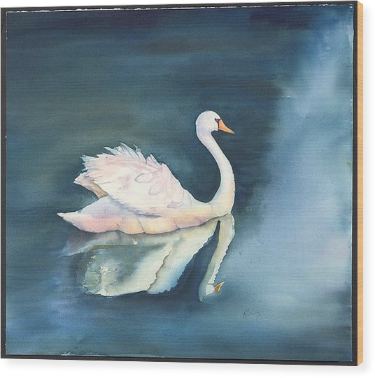 Solitary Swan Wood Print by Bonny Lundy