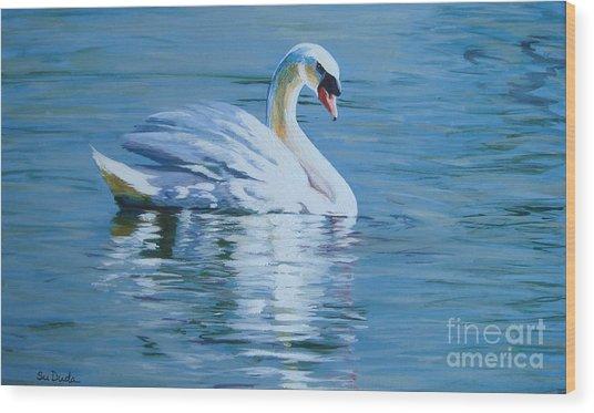 Solitary Swan Wood Print