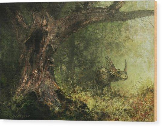 Solitude - Styracosaurus Wood Print by Angie Rodrigues