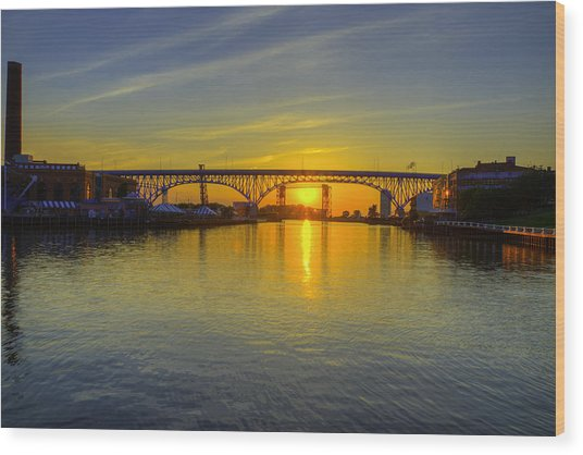 Solstice On The Cuyahoga River Wood Print