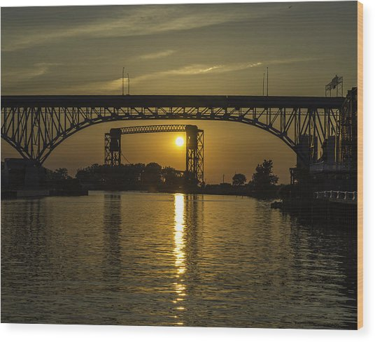 Solstice Sun Through Two Bridges Wood Print