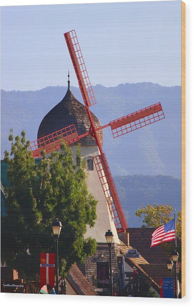 Solvang Windmill Wood Print