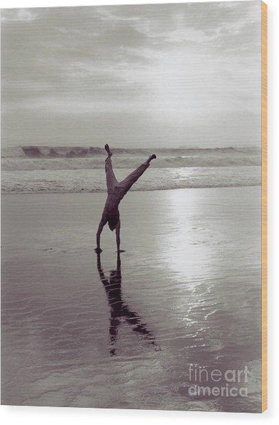 Somersalting On Bali Black Sand Beach 2 Wood Print