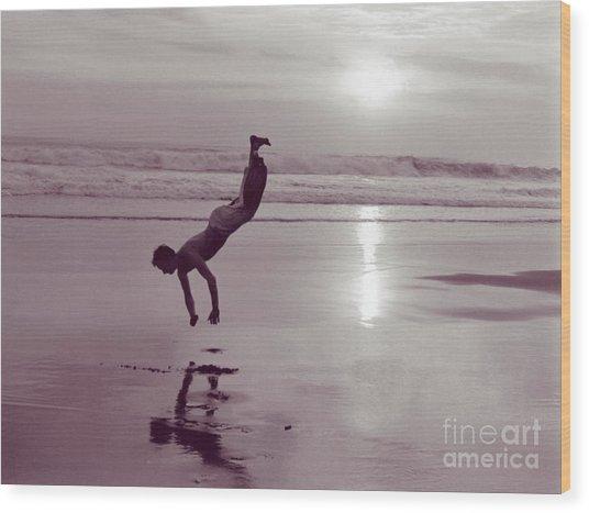 Somersalting On Bali Black Sand Beach Wood Print