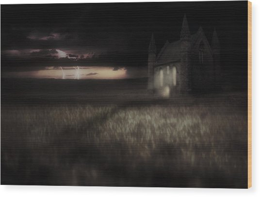 Something Wicked - Lightning - Chapel - Gothic Wood Print