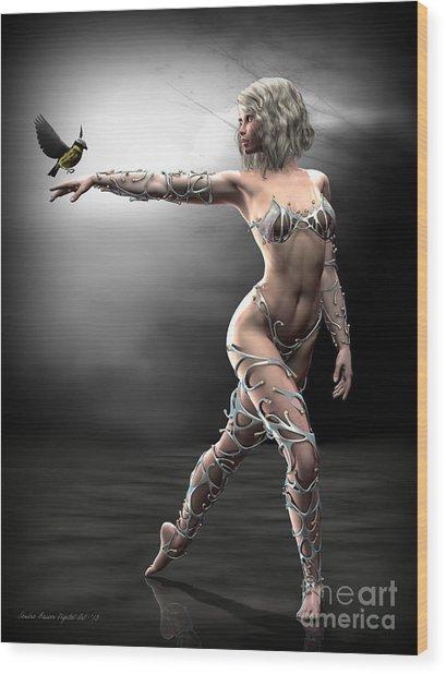 Songbird Wood Print by Sandra Bauser Digital Art