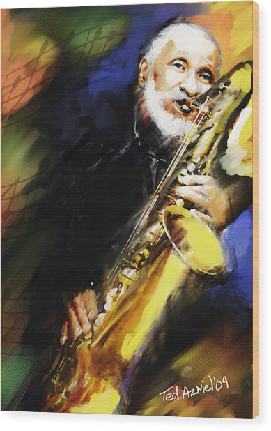 Sonny Rollins Groovin' The Sax Wood Print