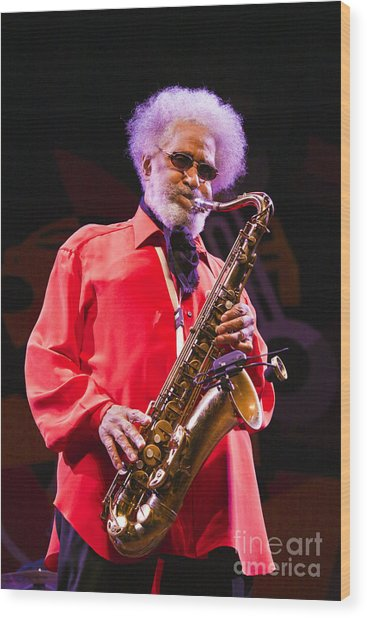 Sonny Rollins In Red Shirt Wood Print
