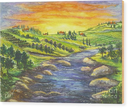 Sonoma Country Wood Print