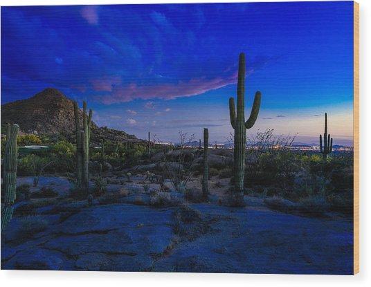 Sonoran Desert Saguaro Cactus Wood Print