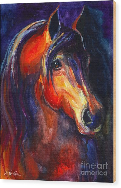 Soulful Horse Painting Wood Print