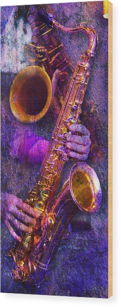 Sound Bites Niche Stacked Sax Wood Print