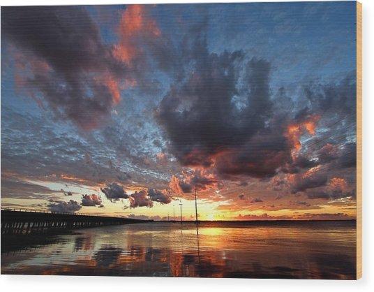 Sound Sunset Wood Print by Stephanie Tomlinson