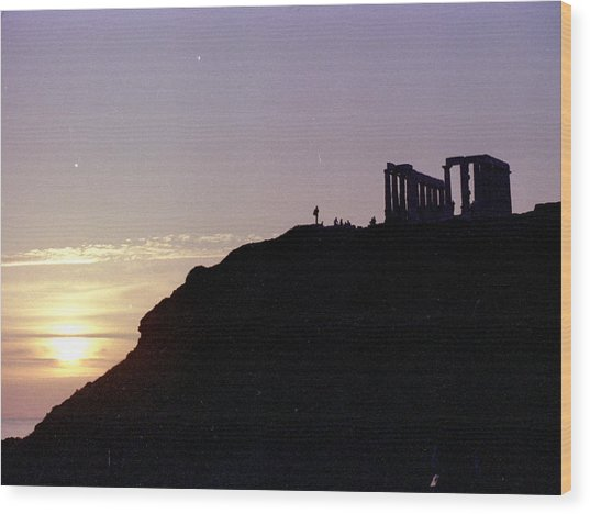 Sounion Greece Sunset Wood Print by Mike McCool