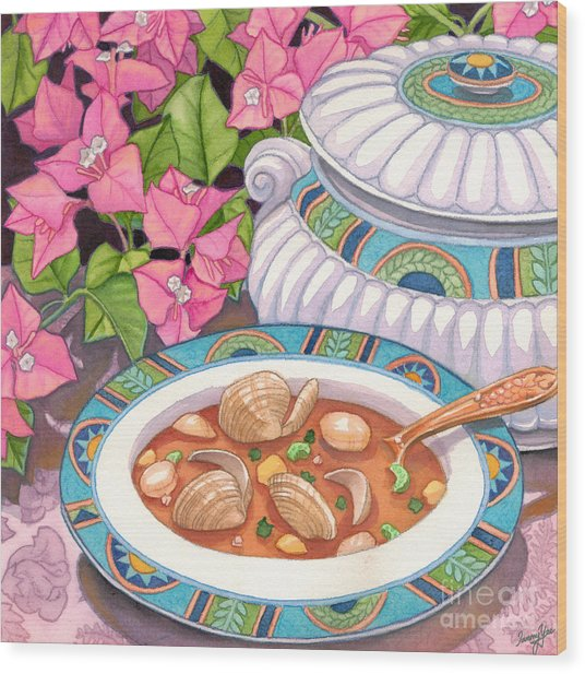 Soup And Bougainvillia Wood Print by Tammy Yee