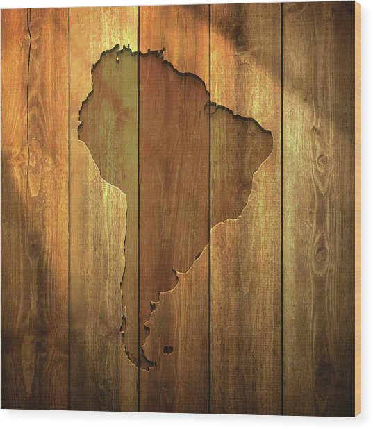 South America Map On Lit Wooden Wood Print