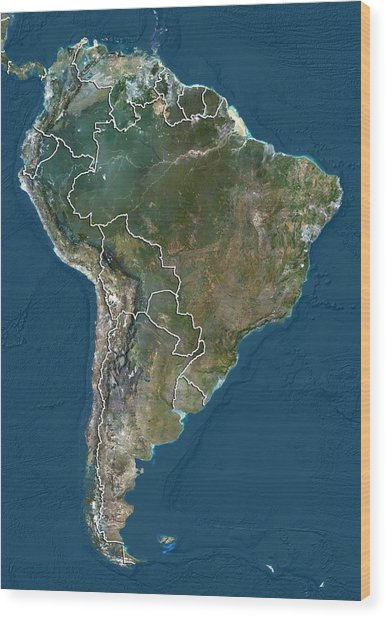South America, Satellite Image Wood Print by Science Photo Library