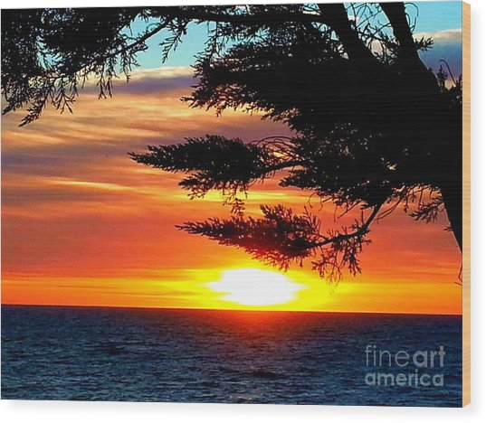 South Bay Sunset Wood Print
