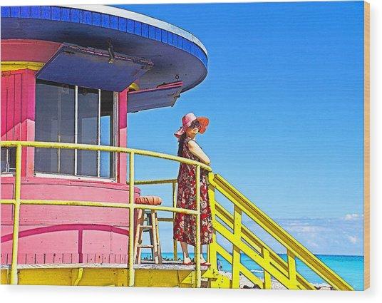South Beach View Wood Print by Dennis Cox