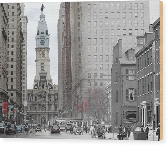 South Broad From Locust Street Wood Print