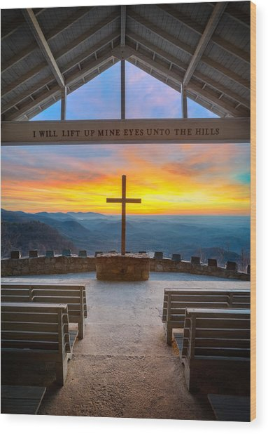 South Carolina Pretty Place Chapel Sunrise Embraced Wood Print