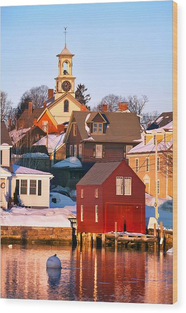 South End Boathouse Wood Print