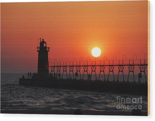 South Haven Lighthouse At Sunset 1 Wood Print