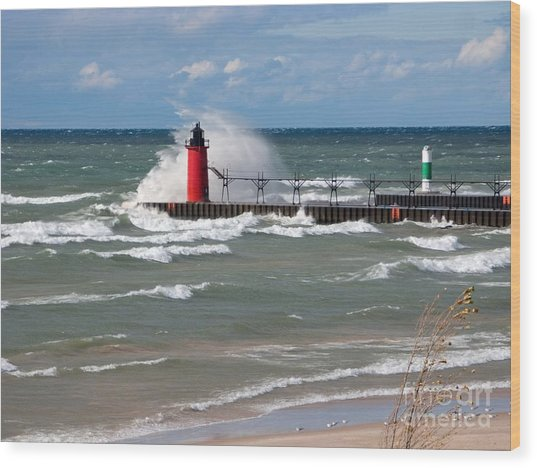 South Haven Splash Wood Print