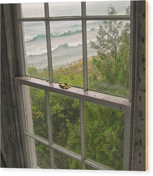 South Manitou Island Lighthouse Window Wood Print