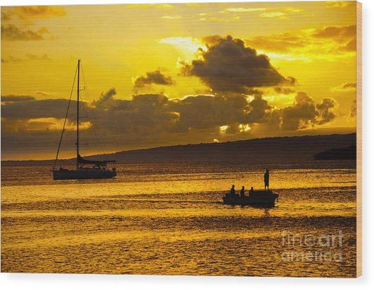 South Sea Sunset - Ferry And Yacht At Port Vila - Vanuatu - South Pacific.  Wood Print