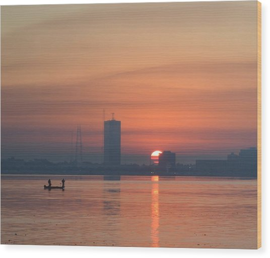 Southern City Sunrise Wood Print by Eileen Corbel