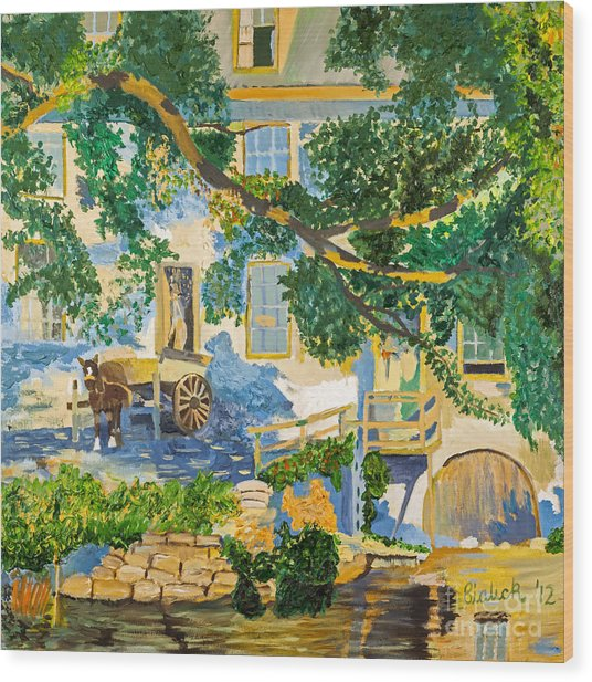Southern Life By Stan Bialick Wood Print by Sheldon Kralstein