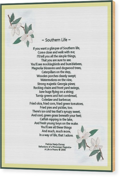 Southern Life Wood Print by Patricia Neely-Dorsey