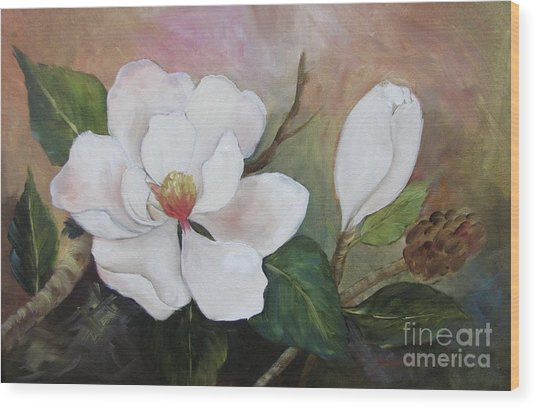 Southern Magnolias II By Barbara Haviland Wood Print