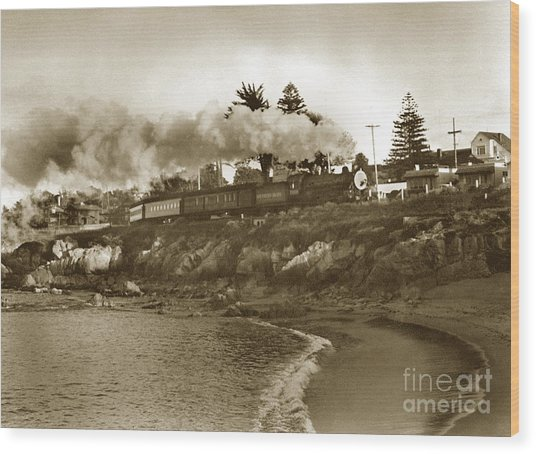 Southern Pacific Del Monte Passenger Train Pacific Grove Circa 1954 Wood Print