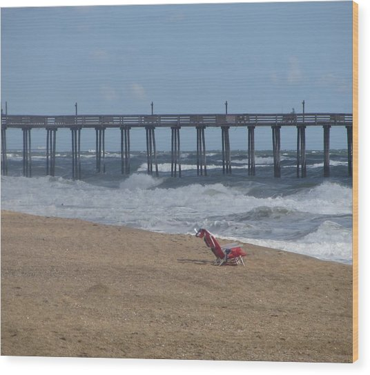 Southern Shores Pier And Chair Wood Print by Cathy Lindsey