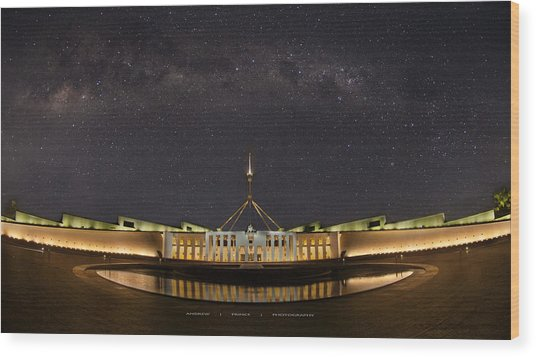 Southern Sky Parliament House  Wood Print by Andrew Prince