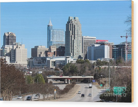 Southern View Of Downtown Raleigh North Carolina Wood Print