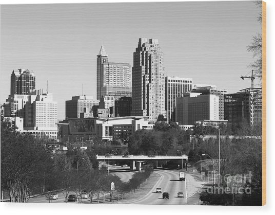 Southern View Of Raleigh Nc Bw Wood Print