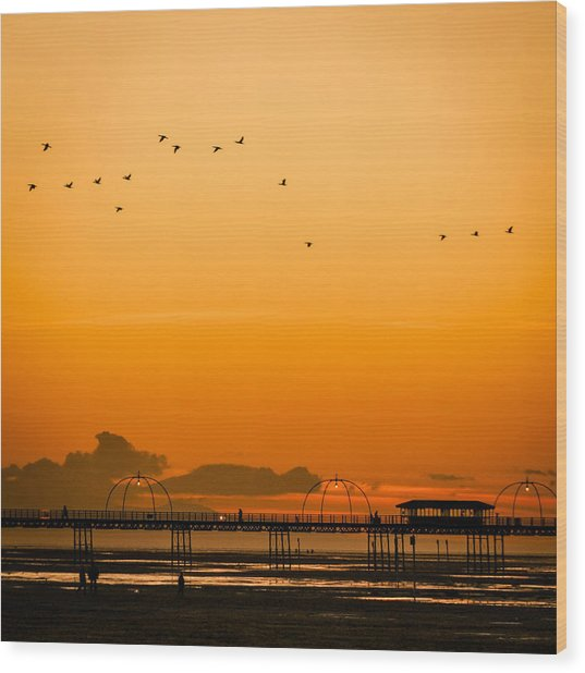 Southport Pier At Sunset Wood Print