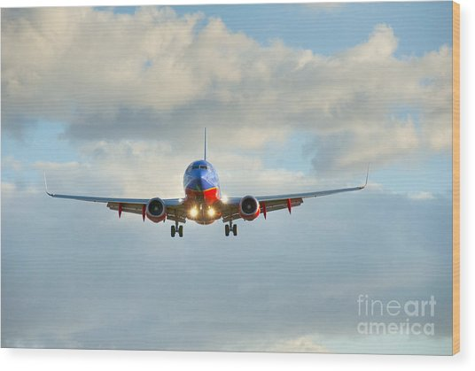 Southwest Airline Landing Gear Down Wood Print