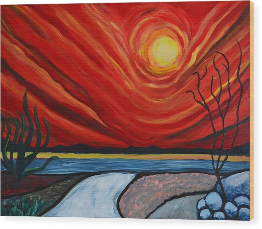 Southwest Desert Sun Wood Print