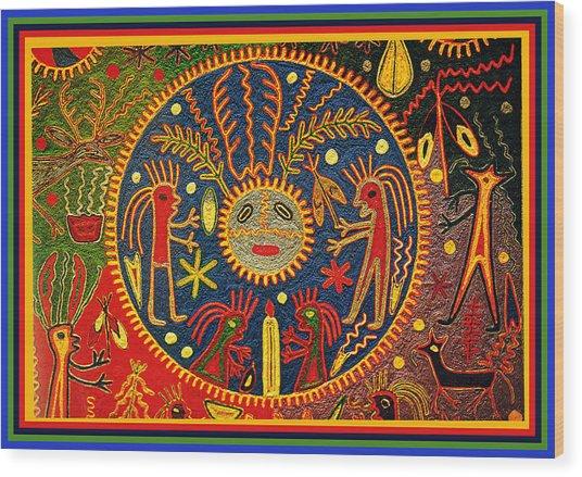 Southwest Huichol Del Sol Wood Print
