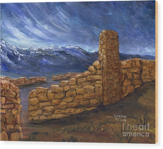 Southwestern Night Landscape Rock Ruins Wood Print