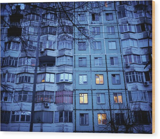 Soviet-era Housing In Transnistria Wood Print by Amos Chapple