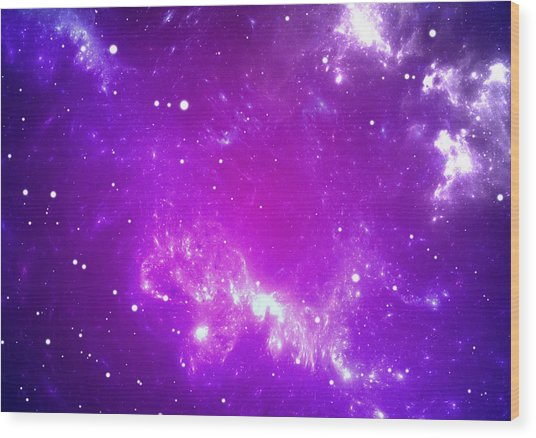 Space Background With Purple Nebula And Stars Wood Print by Peter Jurik