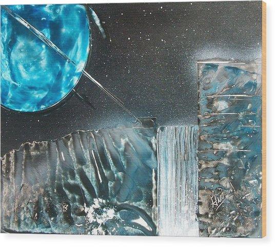 Space-fall Wood Print