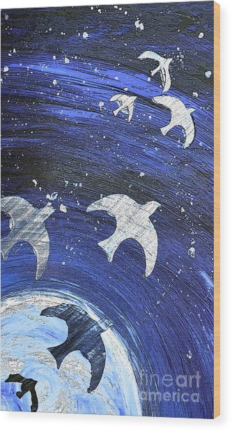 Space Flight Wood Print